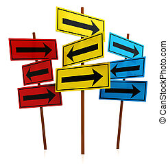 many ways - abstract 3d illustration of directions signs...