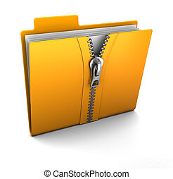 compressed folder - 3d illustration of folder icon with zip,...
