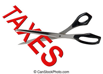 Tax cuts, isolated - Scissors cutting the taxes used as a...