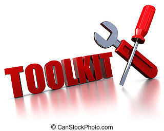 toolkit sign - 3d illustration of text toolkit with wrench...