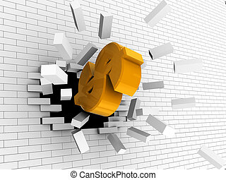 strong dollar - abstract 3d illustration of dollar sign...