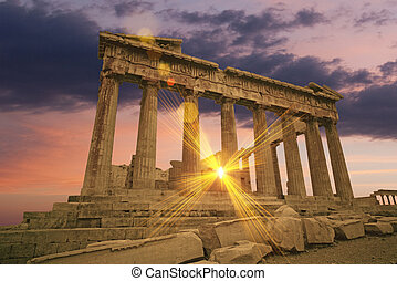 Greek temple - The Parthenon Greek temple at sunset on the...