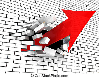 arrow breaking wall - 3d illustration of arrow breaking wall