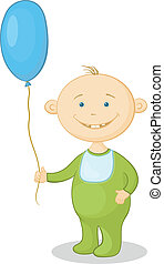 Child with a balloon - Cheerful smiling child holding a blue...