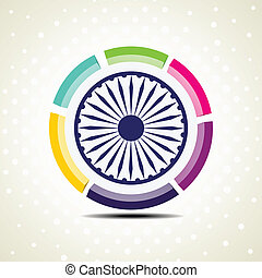 Vector illustration of colorful template frame with Asoka...