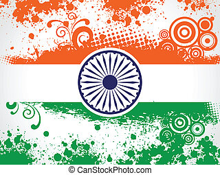 Vector illustration of decorative Indian National Flag.