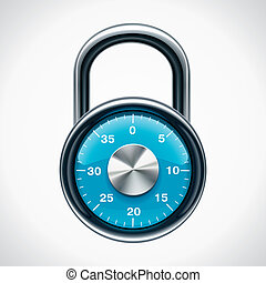 Vector combination padlock - Icon representing chrome and...