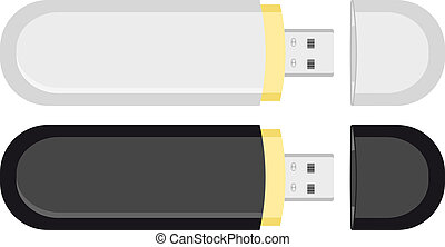 Two mobile USB flash drive memory. Illustration in vector...