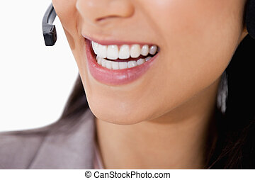 Smile of female call center agent
