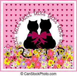Cartoon cats in love. Cute romantic background