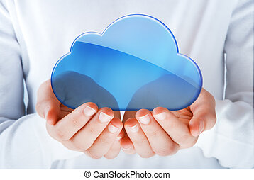 cloud computing - hands exhibiting the cloud computing...