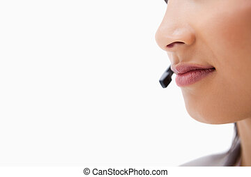 Mouth of female call center agent
