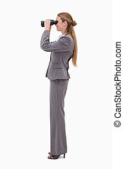 Side view of bank employee using spyglasses