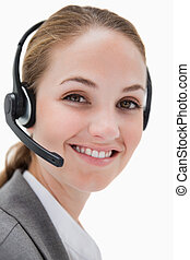 Smiling female call center agent working