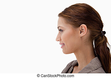 Side view of young woman