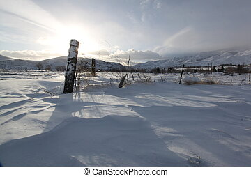 Early moning snow drift - an early morning snow drift cold...