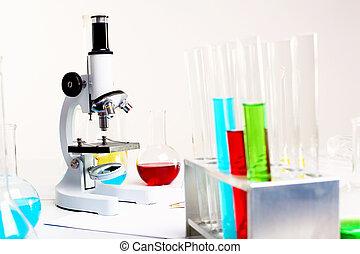 química, o, biología, laborotary, equipo