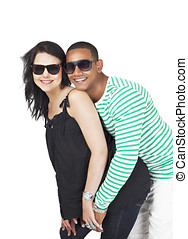 Flirting couple in summer holiday portrait having fun