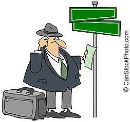 Lost Man And A Streetsign - This illustration depicts a lost...