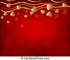 valentine's day background with golden hearts