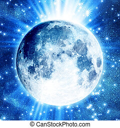 Blue moon background with stars