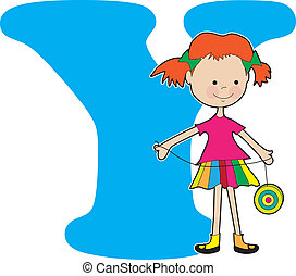 Alphabet Girl Y - A young girl holding a YoYo to stand for...