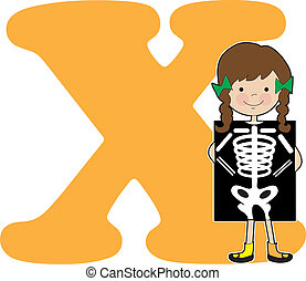 Alphabet Girl X - A young girl holding an XRay to stand for...