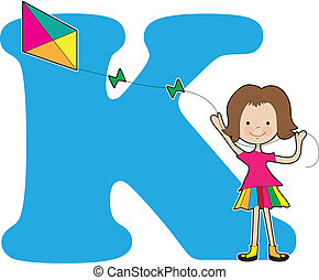 Alphabet Girl K - A young girl flying a kite to stand for...