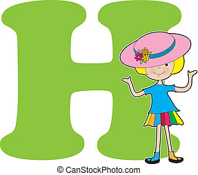 Alphabet Girl H - A young girl holding a hat to stand for...