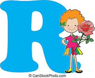 Alphabet Girl R - A young girl holding a rose to stand for...