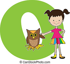Alphabet Girl O - A young girl holding the wing of an owl to...