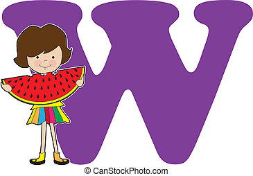 Alphabet Girl W - A young girl holding a watermelon to stand...