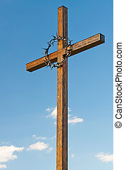 Wooden Cross - Cross with a crown of thorns on the National...