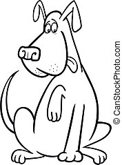 funny sitting dog coloring page