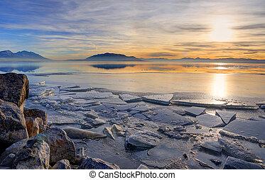 Icy Winter Sunset on Utah Lake