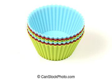 Cupcake bakeware - Cupcake silicon baking cups over white...