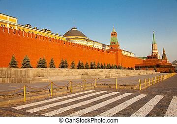 Kremlmauer und Mausoleum in Moskau - Der Rote Platz in...