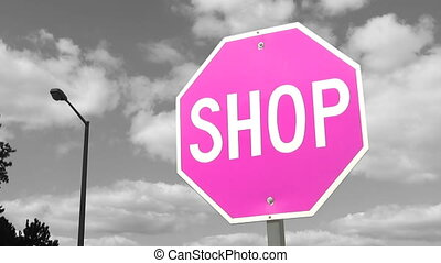 Pink shop sign. Timelapse clouds. - Pink shop sign with...