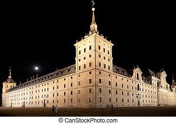 San Lorenzo de El Escorial Monastery, Spain at Night - San...