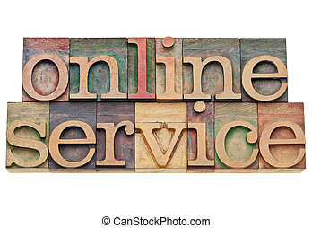 online service - internet concept - isolated text in vintage...