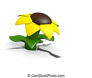 Growing flower - Yellow flower, growing concept, 3D image