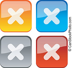 Cancel buttons - Cancel glossy buttons Vector illustration...