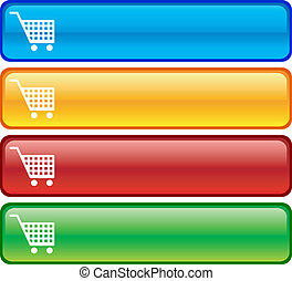 Shopping buttons - Shopping glossy buttons Vector...
