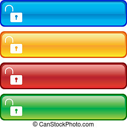 Padlock buttons - Padlock glossy buttons Vector illustration...