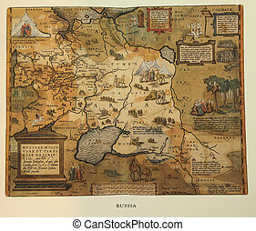 reproduction of 16th century map of Russia engraved and...