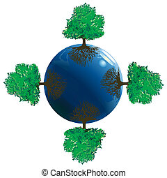 Symbol of Earth with four trees