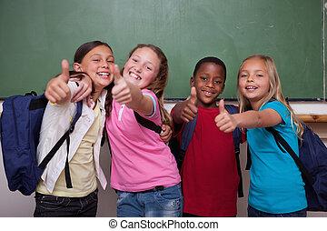 compañeros de clase, Posar, pulgar, Arriba