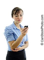 empresa / negocio, mujer, el marcar, teléfono,...