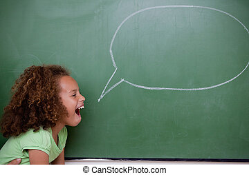 écolière, poser, parole, bulle
