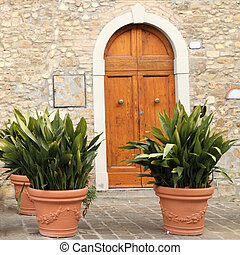 door to the tuscan house - arc door with decorative...